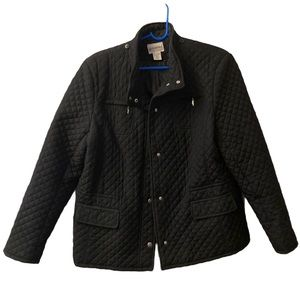 St John's Bay black quilted coat jacket XL puffer